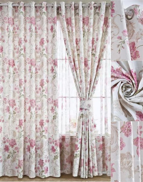 charming floral bedroom curtains of white color in pink