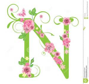 n design letter n with roses stock photos image 7967423