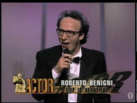roberto benigni wins  actor  oscars youtube