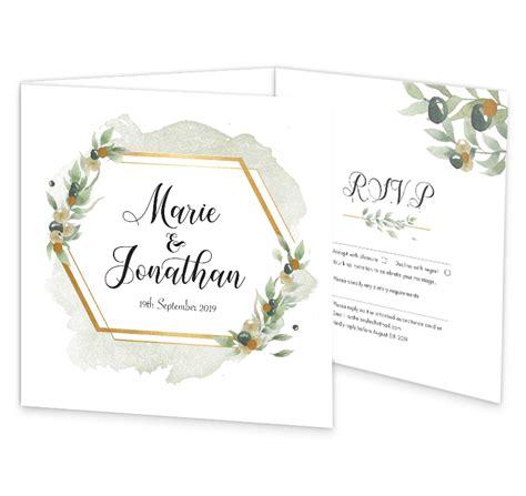 Beautiful Botanical Tri fold Wedding Invite with rsvp