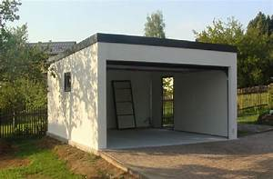 garage metallique toit plat crepis 2 voitures porte large With prix construction garage 25m2