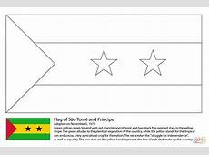 Desenho de Bandeira de São Tomé e Príncipe para colorir