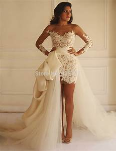 Vestido novia 2016 tulle train detachable skirt wedding for Wedding dress short in front with long train