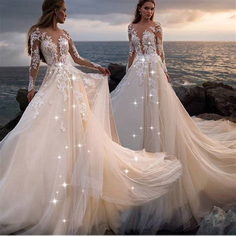 Light Champagne Wedding Dress Lace Applique Wedding Dress