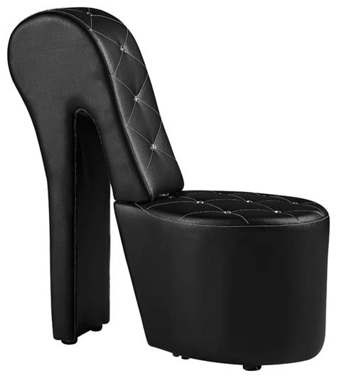 high heel faux leather studs shoe chair