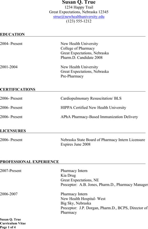 Retail Pharmacist Resume Template by Pharmacist Resume Templates For Excel Pdf And Word