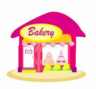Bakery Illustration Window Shopping Pink Cakes Shops