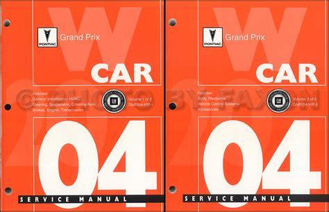 free car repair manuals 2004 pontiac grand am head up display 2004 pontiac grand prix repair shop manual original 2 volume set