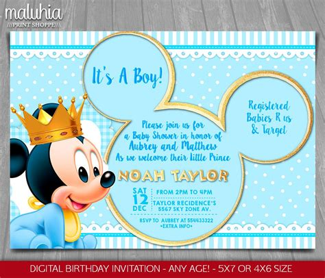 mickey mouse baby shower baby mickey mouse baby shower invitation baby prince mickey