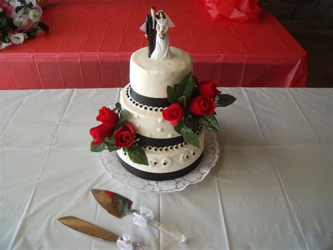 Simple Black, White, Red Wedding Cake