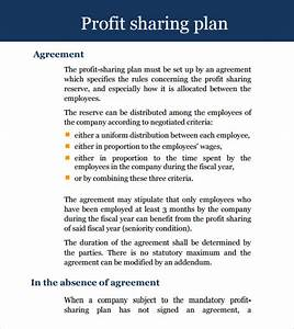 11 sample profit sharing agreements sample templates With profit sharing plan template