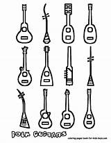 Guitar Guitars Coloring Printables Musical Acoustic Instruments Instrument Yescoloring Boys Amazing sketch template