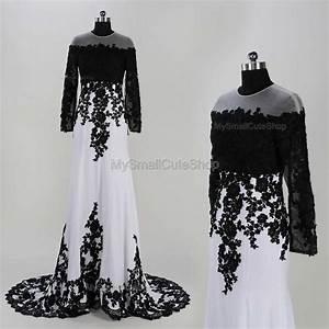 White And Black Prom Dresses,lace Applique Bridesmaid ...