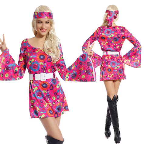 Womens Ladies 60s 70s Groovy Hippy Hippies Flower Power Fancy Dress Costume | eBay
