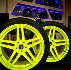 Neon Yellow Custom Powder coated motorcycle rims
