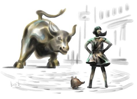 charging bull fearless girl  pissing pug