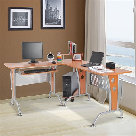 modern l shaped computer desk homcom 67 modern l shaped corner computer desk office
