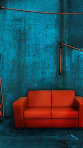 Orange Sofa samsung galaxy note 4 Wallpapers HD 1440x2560