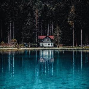 Dark, Forest, 4k, Wallpaper, House, Tall, Trees, Woods, Lake, Body, Of, Water, Reflection, Landscape