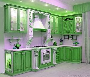 Pictures of kitchens traditional green kitchen cabinets for Kitchen cabinet trends 2018 combined with green metal wall art