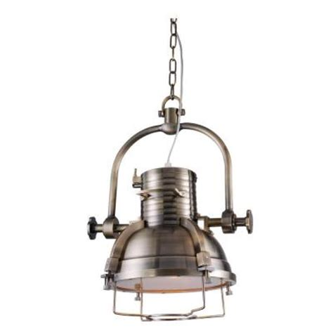 lighting industrial 1 light antique brass pendant