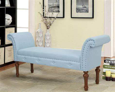 Living Room Bench With Arms by Elise Roll Arm Entryway Bench Blue Modern Living Room