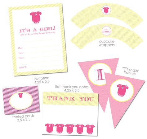 """Free """"it's A Girl"""" Baby Shower Printables From Green Apple"""