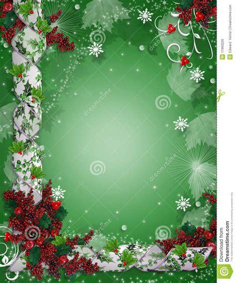 christmas border ribbons elegant holly stock illustration