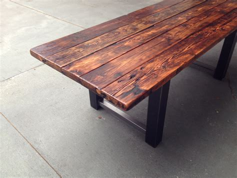 wood steel dining table reclaimed wood and steel dining table the coastal craftsman