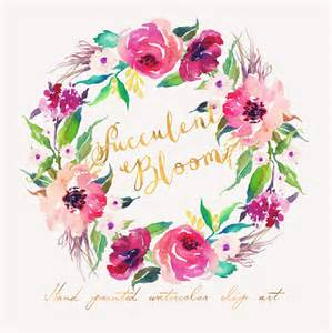 watercolor flower wreath individual png files painted