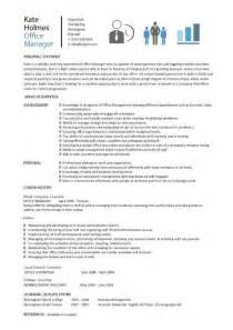 office manager cv exle office manager cv sle