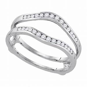 14k white gold womens round diamond wedding bridal With womens wedding ring wraps