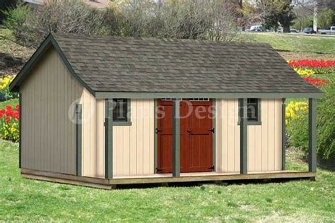 ft guest house storage shed  porch plans p