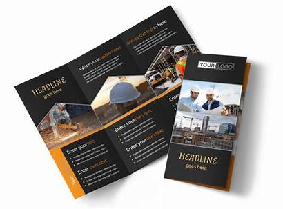 Brochure Construction Industrial Template Fold Tri Commercial