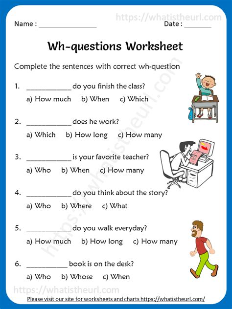 wh question worksheets rel   home teacher