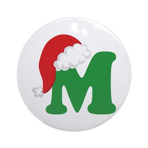 christmas letter m alphabet ornament round by