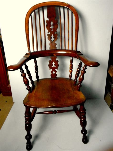 north country yew wood broad arm windsor chair sa