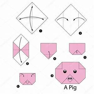 Faire Des Origami : instructions tape par tape comment faire origami a cochon image vectorielle ~ Nature-et-papiers.com Idées de Décoration