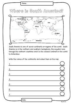 south america  countries study worksheets flags