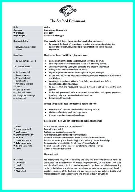 Things To Put On A Resume About Waitressing by 1000 Ideas About Description On Resume Skills Human Resources And Sle Resume