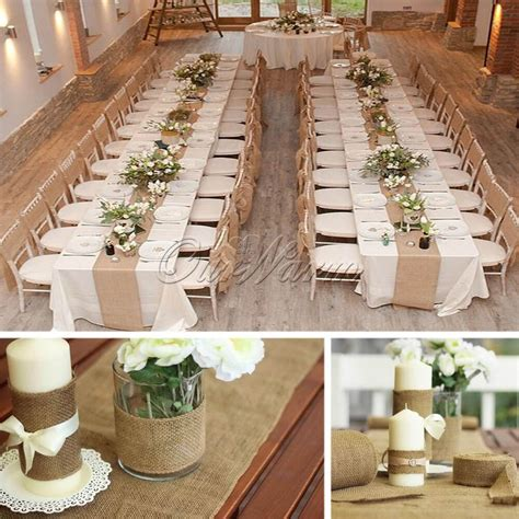 unique hessian jute burlap roll chair bow table runner diy