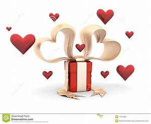 Funy Valentine Gift Box With Hearts Stock Photography ...