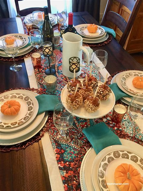 boho traditional colorful fall tablescape momma