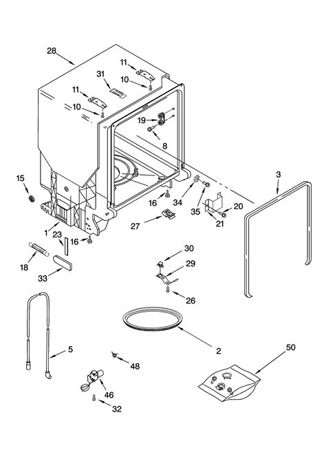 tub and frame parts diagram parts list for gu1100xtlq1 whirlpool parts dishwasher parts