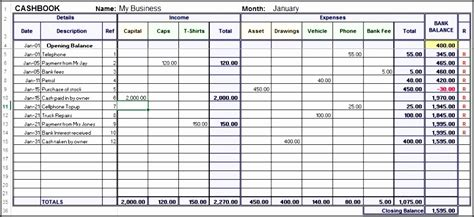 cashbook page template 7 excel bookkeeping template sletemplatess