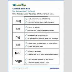 Grade 1 Vocabulary Worksheet  Choose The Correct Definition  K5 Learning
