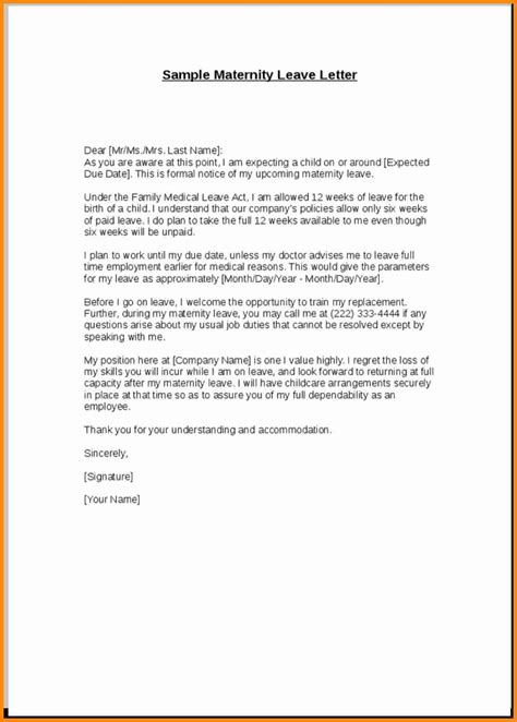 ideas collection 9 maternity leave letter format about