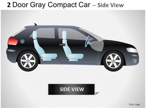 2 Door Gray Compact Car Side View Powerpoint Presentation