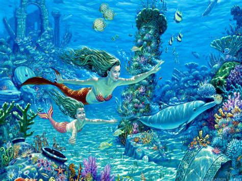 mermaid wallpaper mermaid desktop wallpaper pencil and in color Underwater