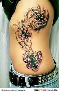 Cute butterflies tattoo on a woman's side | Ink ...